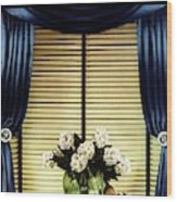 A House And Garden Cover Of Flowers By A Window Wood Print