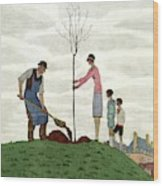 A House And Garden Cover Of People Planting Wood Print