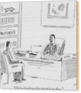 A Human Resources Office Worker Speaks To An Wood Print