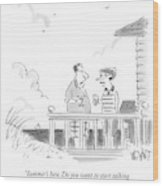 A Husband Talks To A Wife On A Porch Of A Beach Wood Print