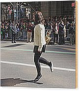 A Irish Dancer Doing Some Dancing At The 2009 St. Patrick Day Parade Wood Print
