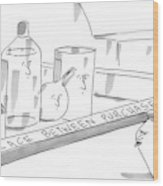 A Jar On A Supermarket Conveyor Belt Is Sticking Wood Print