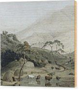A Kaffir Village, C.1801 Wc & Graphite On Paper Wood Print