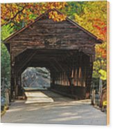 A Kancamagus Gem - Albany Covered Bridge Nh Wood Print by Thomas Schoeller