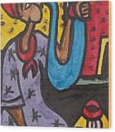 A King Messenger Blowing Flute Wood Print