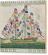 A King S Ship Dressed With The Colours Of Different Nations 6th October 1794 Wood Print