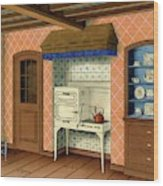 A Kitchen With An Old Fashioned Oven And Stovetop Wood Print