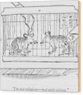 A Lab Rat With Electrodes On His Head Talks Wood Print