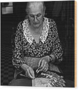 A Lacemaker In Bruges Wood Print