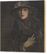 A Lady In Brown Wood Print