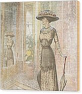 A Lady's Curious Reflection Wood Print