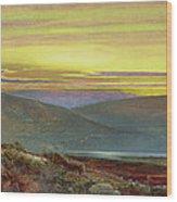 A Lake Landscape At Sunset Wood Print