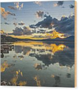A Lake Pend Oreille Sunset  -  120601a-040 Wood Print