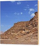A Landscape Of Rocky Outcrops In The Desert Of Wadi Rum Jordan Wood Print