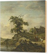 A Landscape With A Farm On The Bank Of A River Wood Print