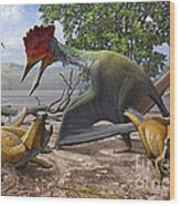 A Large Bakonydraco Pterosaur Attacking Wood Print by Sergey Krasovskiy