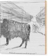 A Large Buffalo Stands Near The Door Wood Print