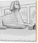A Large Sphinx Sits In Front Of A Desk Wood Print