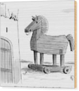 A Large Wooden Horse Wood Print