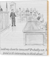 A Lawyer Makes His Case In Front Of A Jury Wood Print