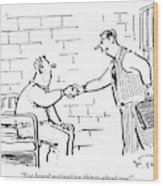 A Lawyer With A Briefcase Shakes The Hand Wood Print
