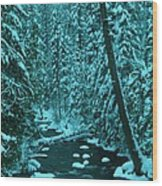 A Leaning Tree Over The Little Naches River Wood Print