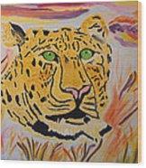 A Leopard's Gaze Wood Print