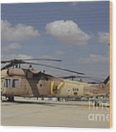 A Line Of Uh-60l Yanshuf Helicopters Wood Print