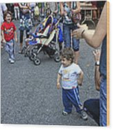 A Little Boy Dancing At The 200th Anniversary Of St. Patrick Old Cathedral Wood Print