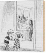 A Little Boy Speaks To A Little Girl Wood Print