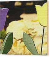 A Little Yellow And Purple Wood Print by Alexandra  Rampolla