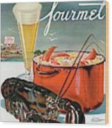 A Lobster And A Lobster Pot With Beer Wood Print