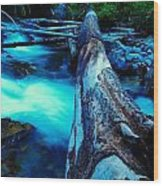 A Log Over Rapids Wood Print
