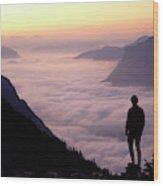 A Lone Hiker Above The Clouds Wood Print