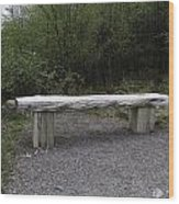 A Long Stone Section Over Wooden Stumps Forming A Rough Sitting Area Wood Print