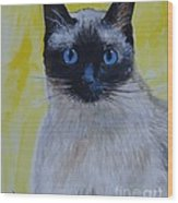 A Loving Siamese Wood Print by Leslie Allen