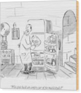 A Mad Scientist Removes A Jar From The Laboratory Wood Print