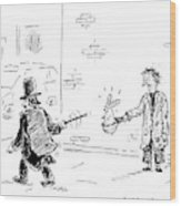 A Magician Points His Wand At A Beggar's Hat Wood Print