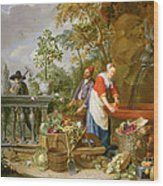 A Maid Washing Carrots At A Fountain Wood Print