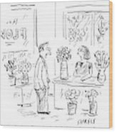 A Man Addressing A Florist Wood Print