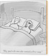 A Man And A Woman Lie In Bed Wood Print