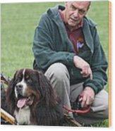 A Man And His Dog Wood Print