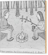 A Man And Woman Are Camping And The Woman Roasts Wood Print