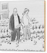 A Man And Woman Are Seen Walking Through A Garden Wood Print