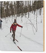 A Man And Woman Cross Country Skiing Wood Print