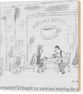 A Man And Woman Sit In A Coffee Shop Wood Print