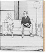 A Man And Woman Sit Next To Each Other On A Couch Wood Print