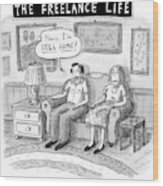 A Man And Woman Sit On A Couch In Their Living Wood Print by Roz Chast