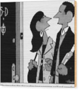 A Man And Woman Speak In A Hallway Outside An Wood Print