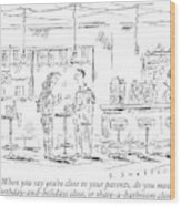 A Man And Woman Stand At A Table In A Bar Wood Print